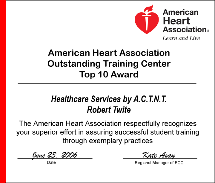 American Heart Association Outstanding Training Center Top 10 Award
