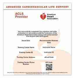 American Heart Association ACLS Course eCard