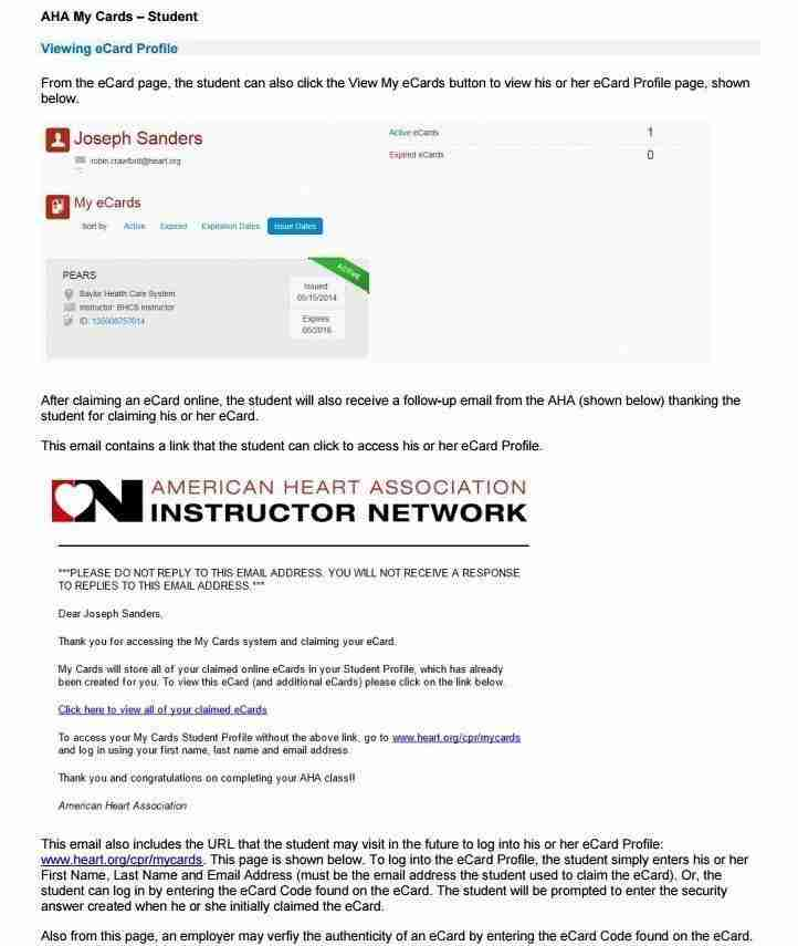 AHA ecard instructions AHA eCard Profile